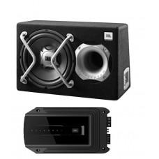 Komplektas automobiliui žemų dažnių garsiakalbis dėžėje JBL GT5-1204BR  30 cm ir garso stiprintuvas JBL GX-A3001